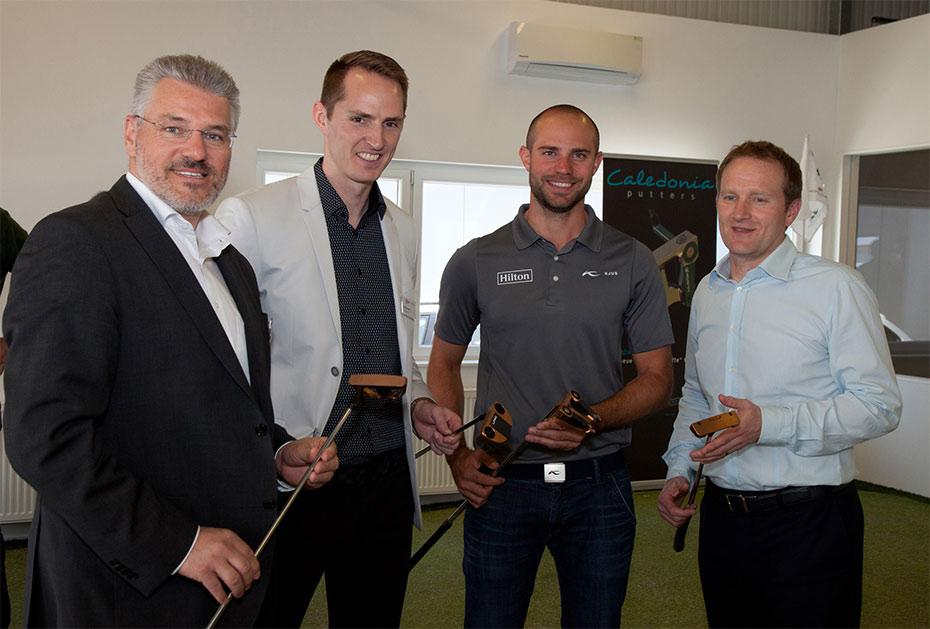 V.l.n.r.: Gerhard Karl (Brilliant8), Robbie Sowden (Caledonia), Bernd Ritthammer, Dr. Paul Hurrion (Quintic)