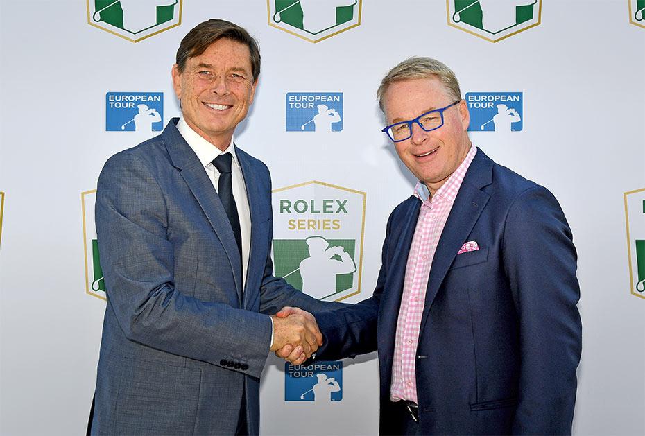 Besiegelt: Laurent Delanney (Rolex Global Head of Sponsorship and Partnership), Keith Pelley (CEO European Tour, r.)