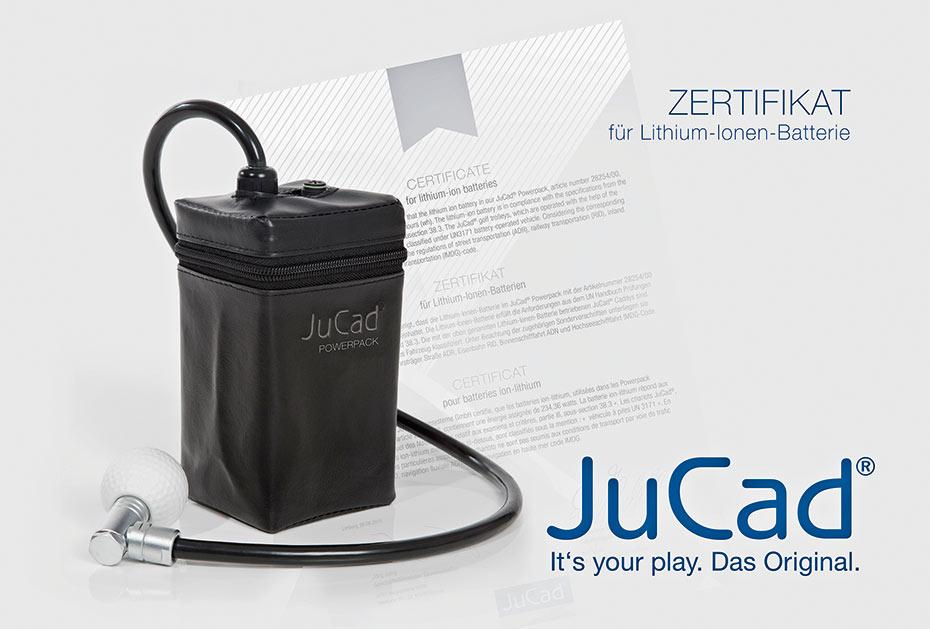 Geprüft und sicher: Die JuCad-Powerpacks werden mit einem Sicherheitszertifikat versehen