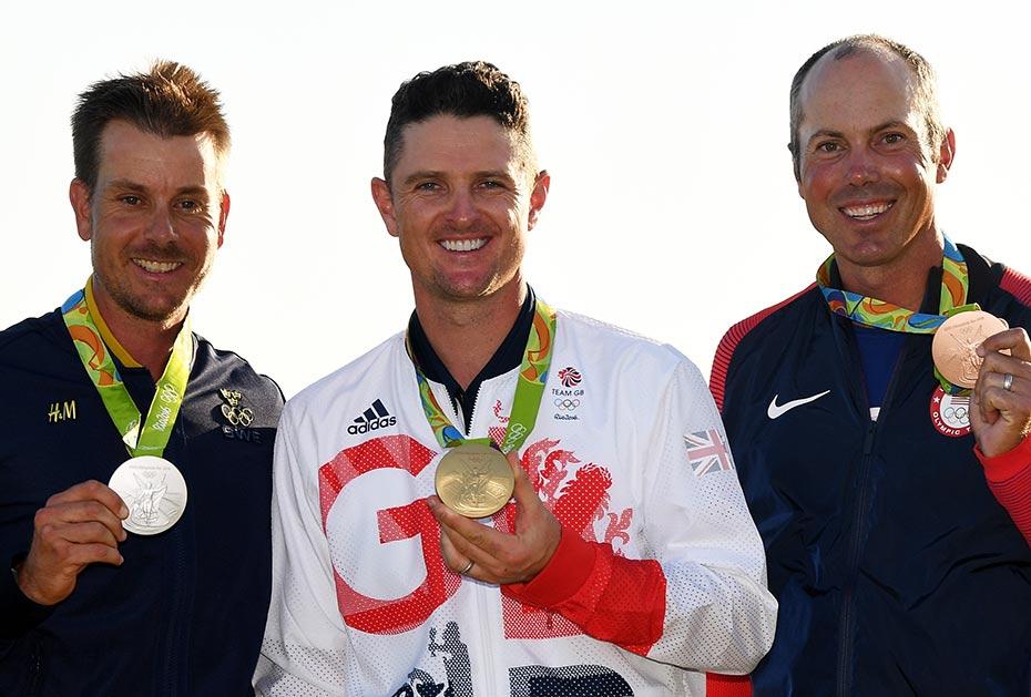 Olympiapodium 2016: Henrik Stenson (Silber), Justin Rose (Gold), Matt Kuchar (Bronze)