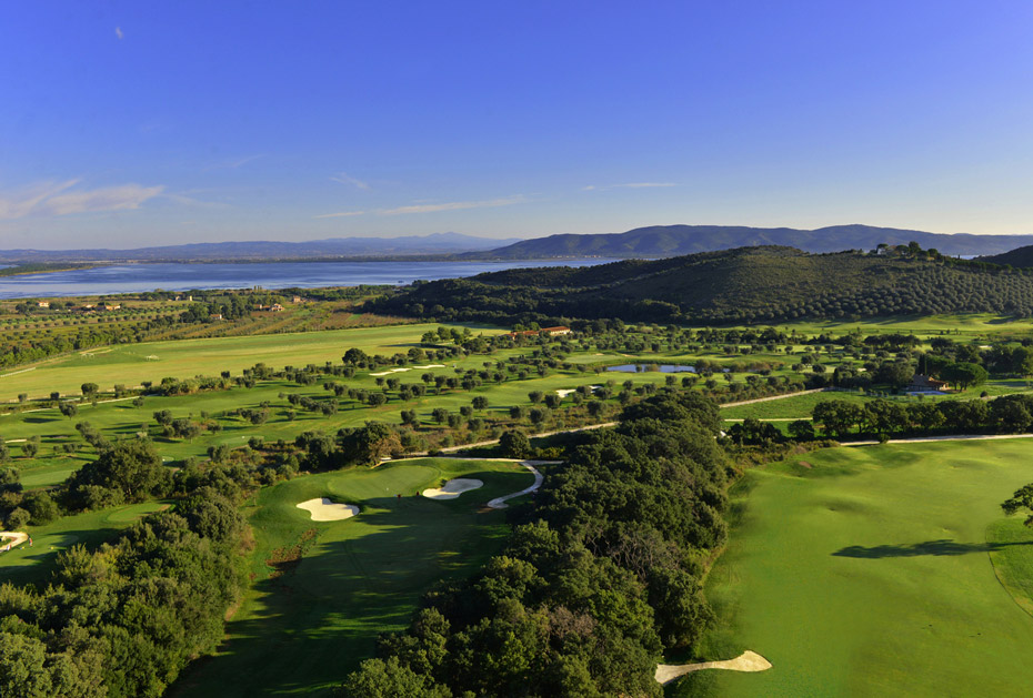 Der Golfplatz aus der Vogelperspektive