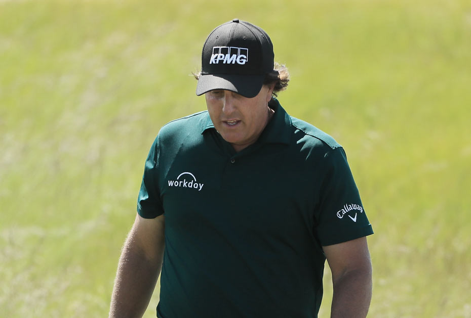 Not amused: Phil Mickelson