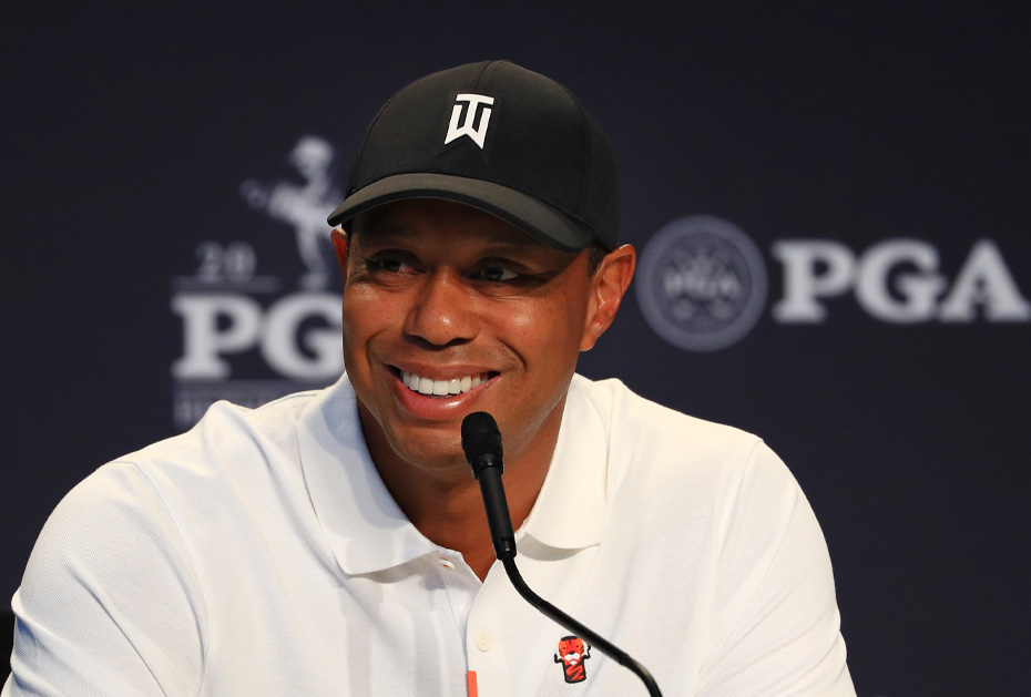 Tiger Woods beantwortet Fragen bei der PGA Championship