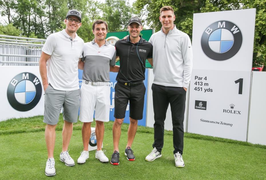 Gute Stimmung in der Spitzengruppe: Christian Ehrhoff, Bruno Spengler, Martin Kaymer und Niklas Süle