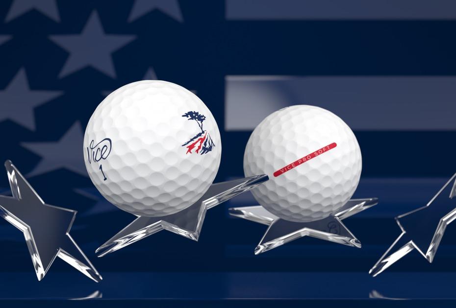 Blau, Rot und Weiß: die Farben der amerikanischen Flagge finden sich auf der Sonderedition von Vice Golf wieder