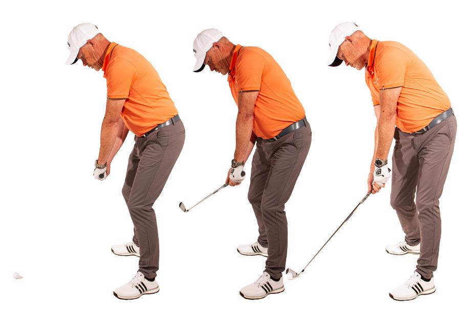 Es ist eine weit verbreitete Fehlwahrnehmung, dass der Golfball nach links fliegt, wenn sich die Hände nach dem Treffmoment links von der Ziellinie bewegen.