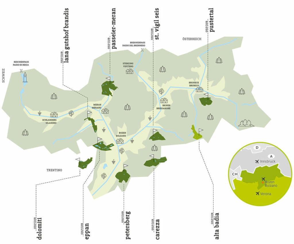 Übersichtskarte Südtirol