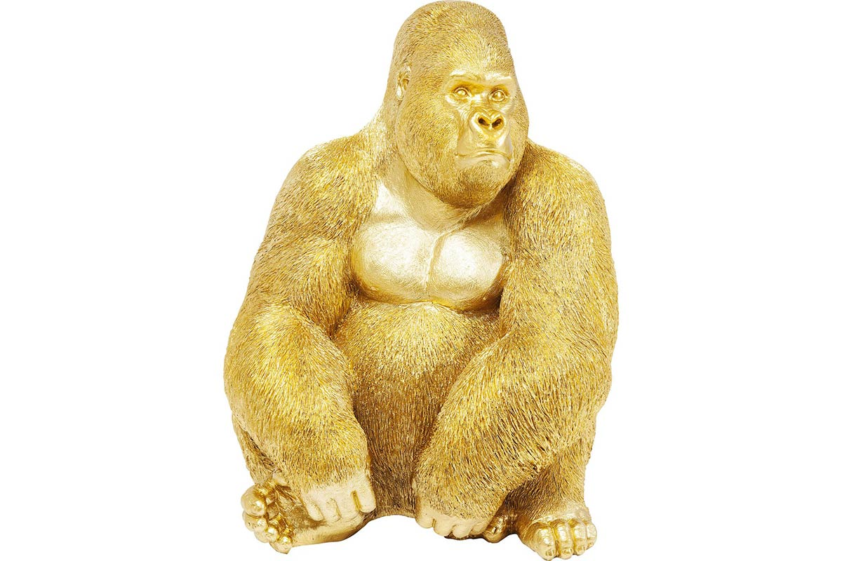 KARE Deko Figur Monkey Gorilla Side XL Gold