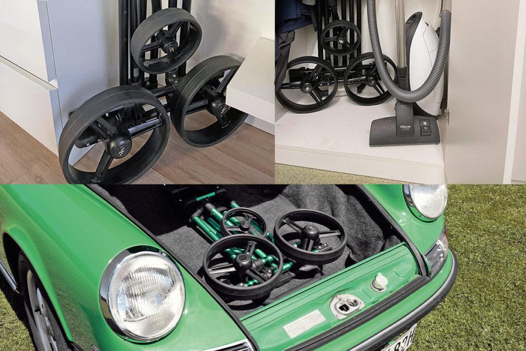 Drei Beispiele zur Inspiration, wo ein Trolley mit flachem Packmaß verstaut werden könnte ...