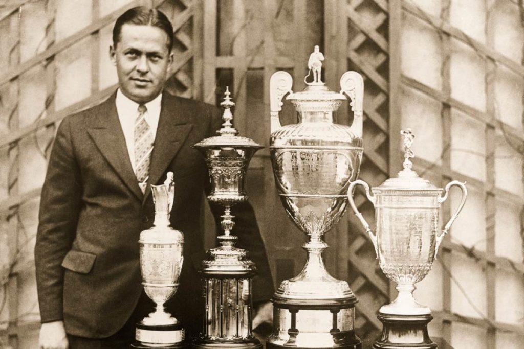 Das schaffte noch keiner: Bobby Jones mit den vier Grand-Slam-Pokalen