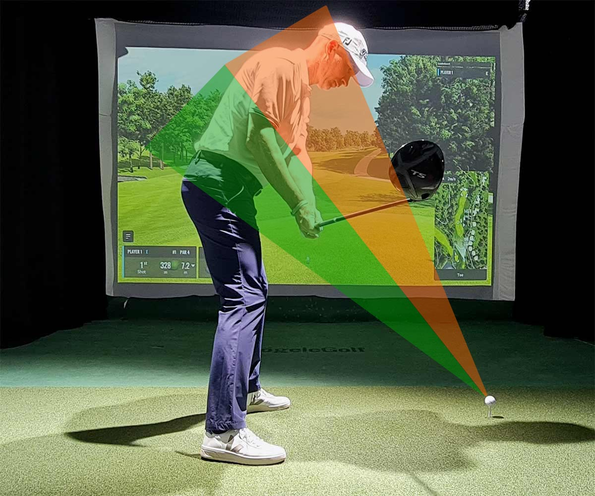 Training Driver: Kommt der Schläger von außen an den Ball (orangener Bereich), wird es problematisch