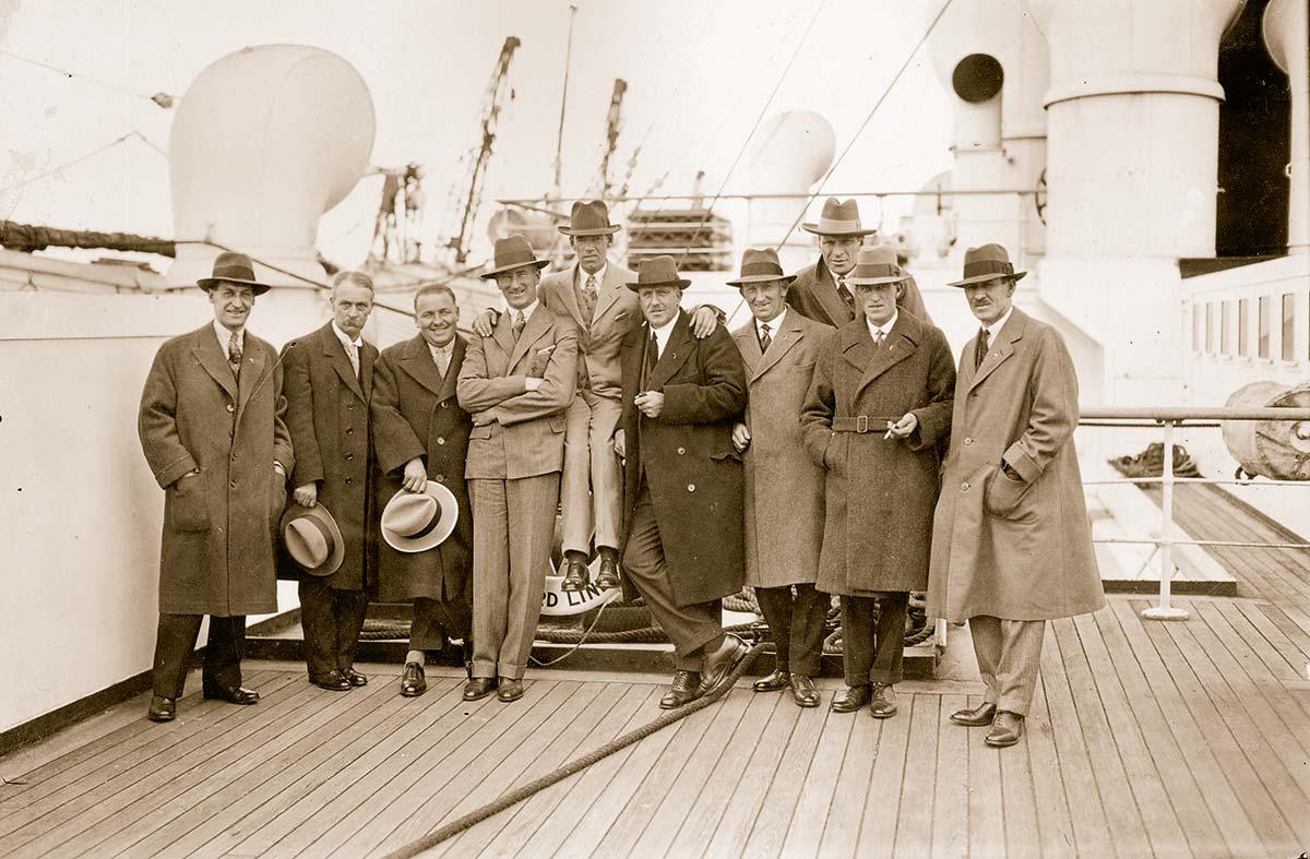 Zuversichtlich: Das britische Team auf der Schiffsreise zur ersten offiziellen Austragung 1927 in Worcester